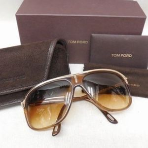 TOM FORD Brown & Gold Sunglasses
